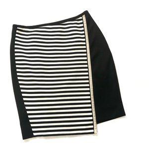 WHBM stretchy stripe diagonal front pencil skirt